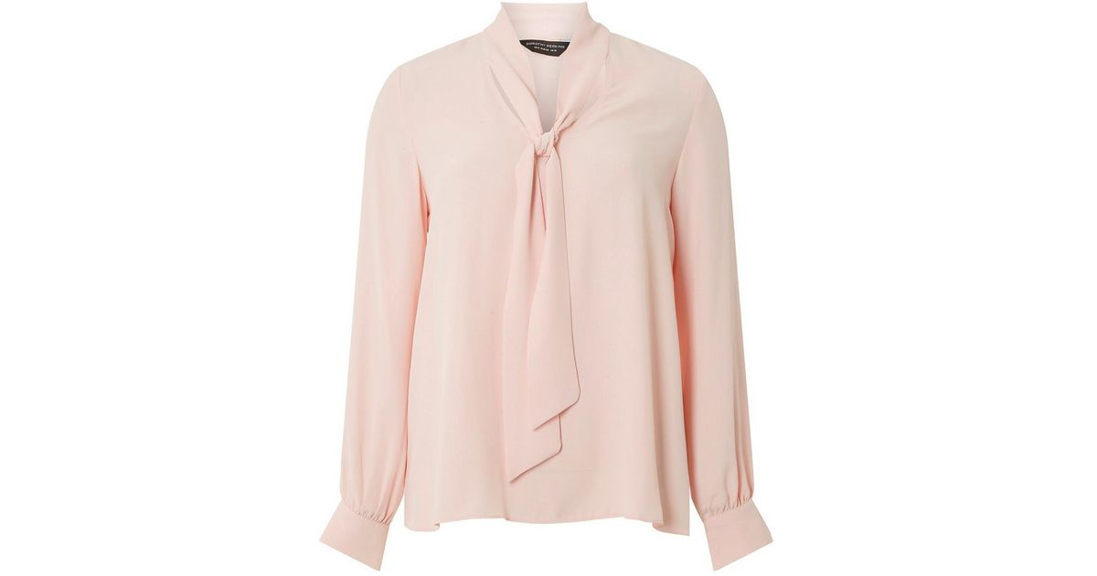 3fa1d804ff0582 Dorothy Perkins Pink Pussybow Long Sleeve Top in Pink - Lyst