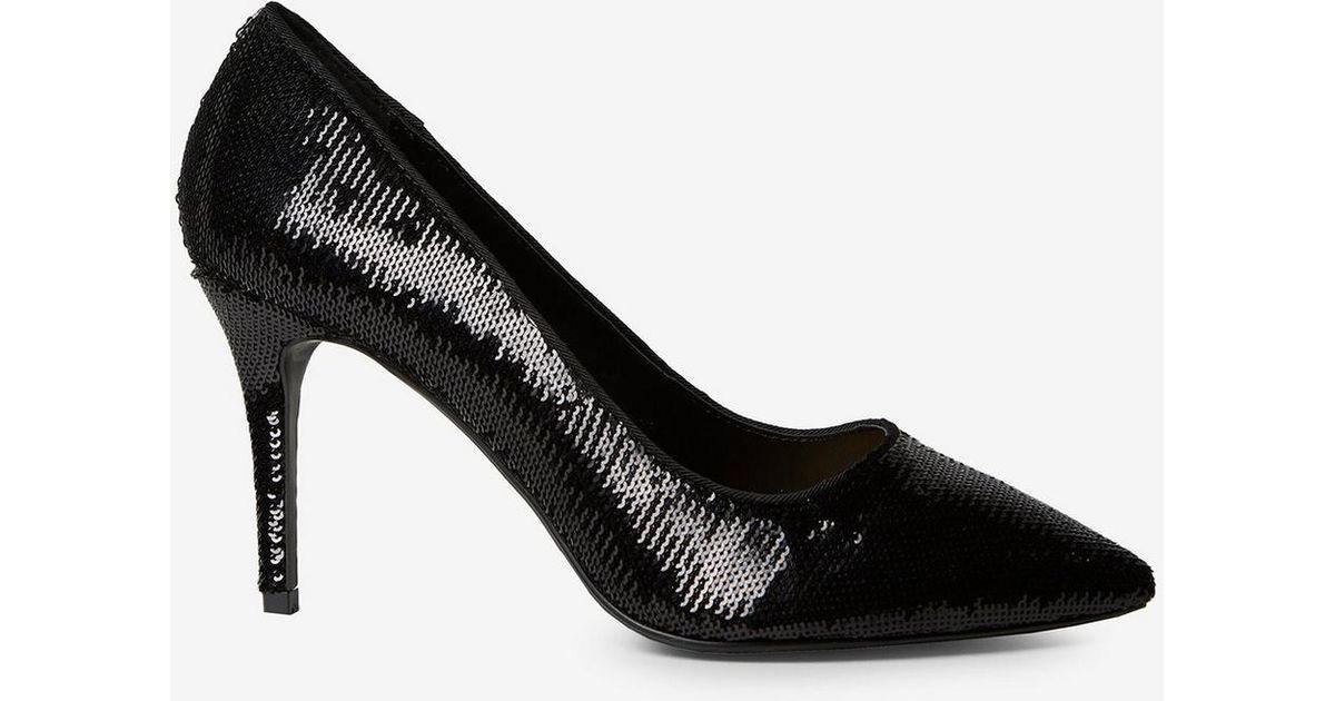 48c504d6d8e49 Lyst - Dorothy Perkins Wide Fit Black  ezzy  Sequin Court Shoes in Black