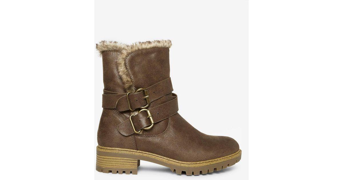 6fa431ff0bf3 Dorothy Perkins Tan Pu  arctic  Biker Boots in Brown - Lyst