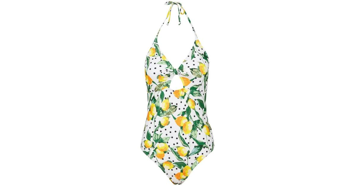 03412ec52e640 Lyst - Dorothy Perkins Dp Beach White Lemon Polka Dot Print Tie Swimsuit in  White