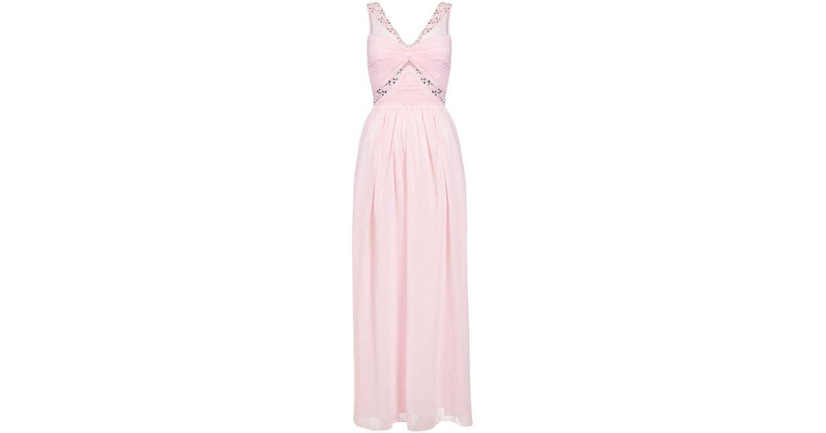 Lyst Dorothy Perkins Quiz Pink Twist Front Maxi Dress In Pink