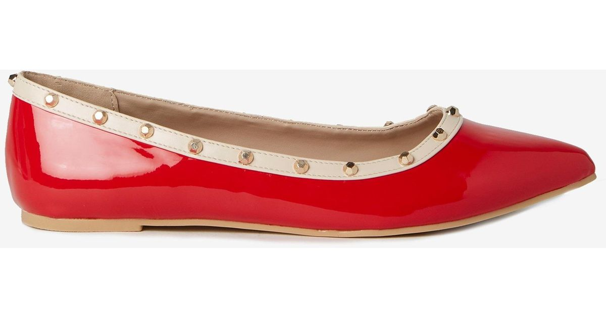 1091028533 Dorothy Perkins Red Pu Holly Studded Pumps in Red - Lyst