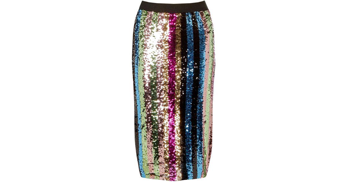9811aaee17 Lyst - Dorothy Perkins Multi Colour Striped Sequin Pencil Skirt