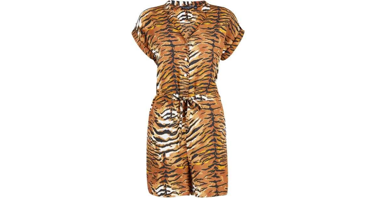 8acb3b9324e Dorothy Perkins Multi Colour Tiger Print Playsuit in Brown - Save 7% - Lyst