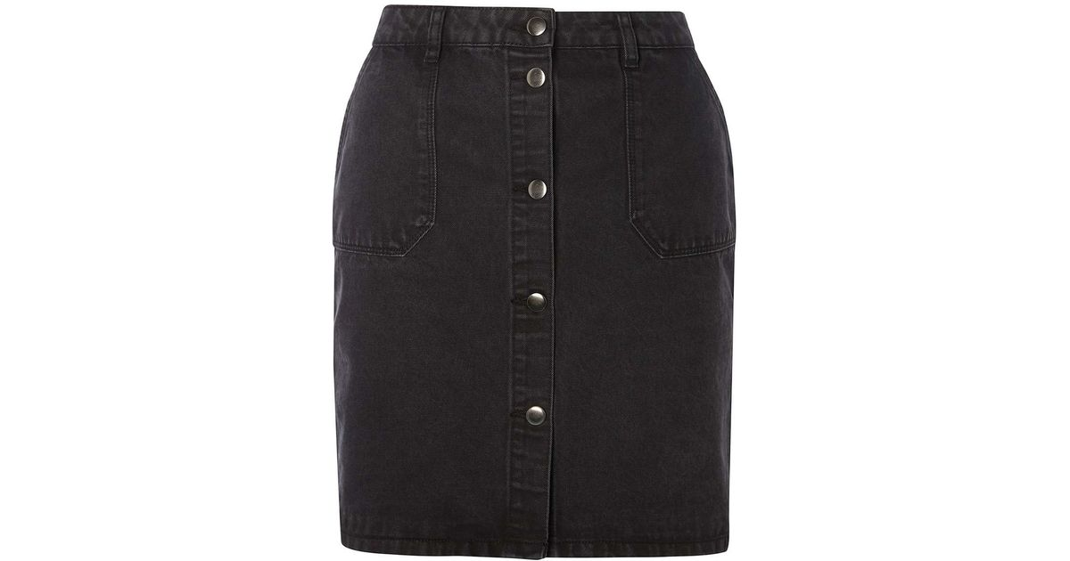 dorothy perkins wash black denim skirt in black lyst