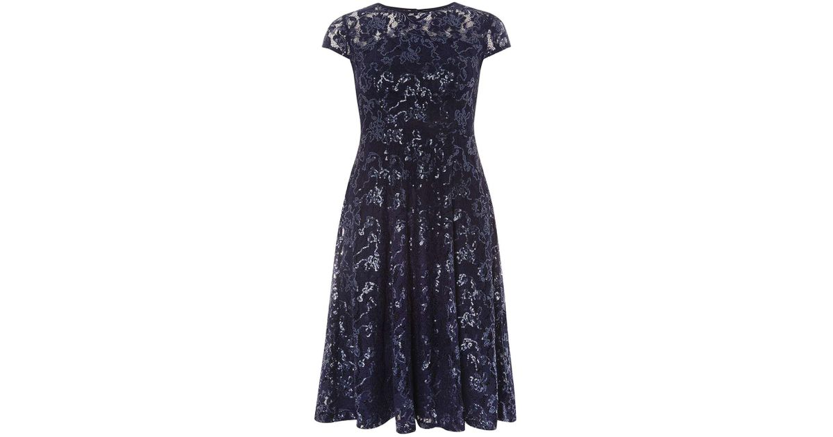 0d9077f3 Dorothy Perkins Navy Lace Sequin Embellished Fit And Flare Dress in Blue -  Lyst
