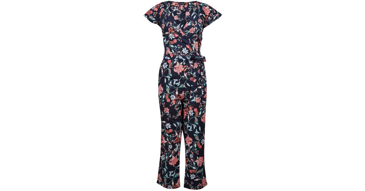 36880ff87d11 Lyst - Dorothy Perkins Navy Folk Floral Jumpsuit in Blue
