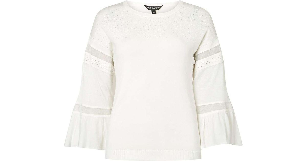 Original 2018 Cheap Online Dorothy Perkins Womens Ivory Sheer Panel Knitted Top- Best Sale Online Discount Purchase pklXnTlEql