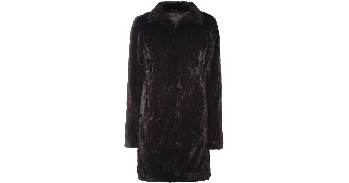 Dorothy perkins black and white fur coat
