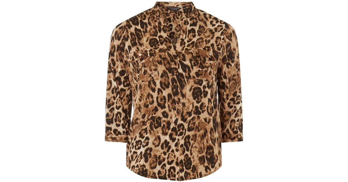 73bd2116dc80 Dorothy Perkins Multi Colour Leopard Print Utility Shirt in Brown - Lyst