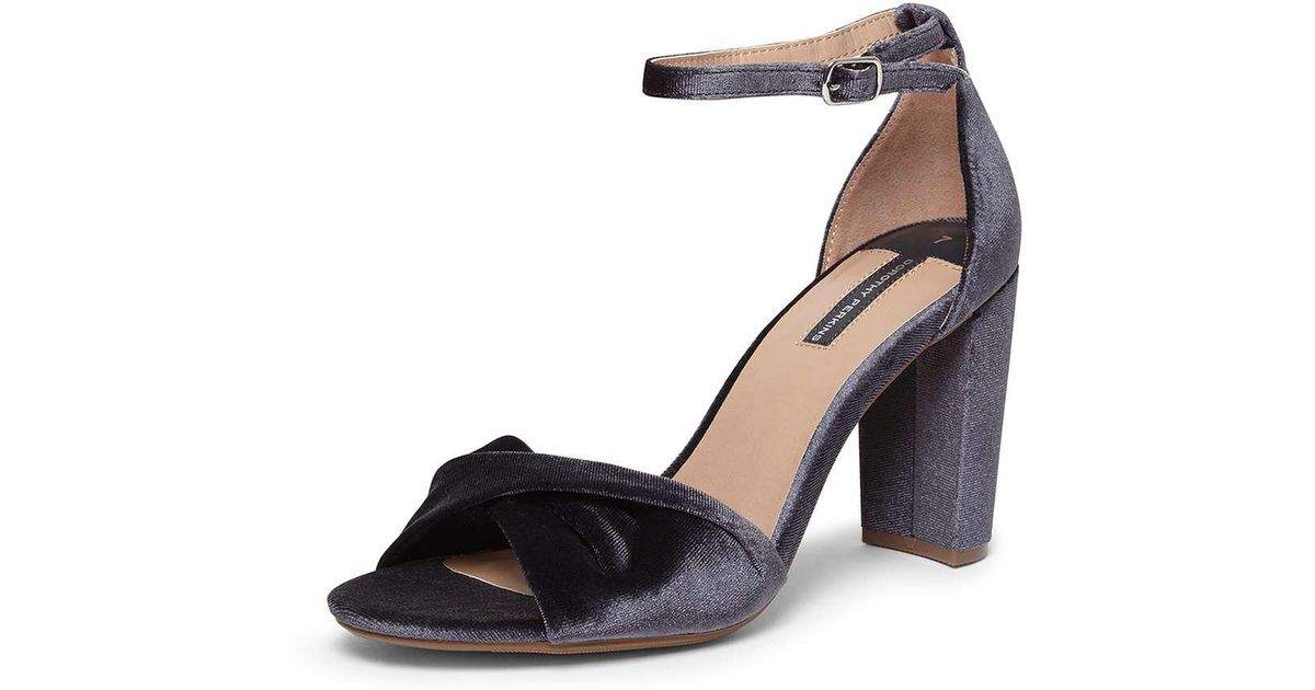 Womens Grey Shani Velvet Ankle Strap Sandals Dorothy Perkins