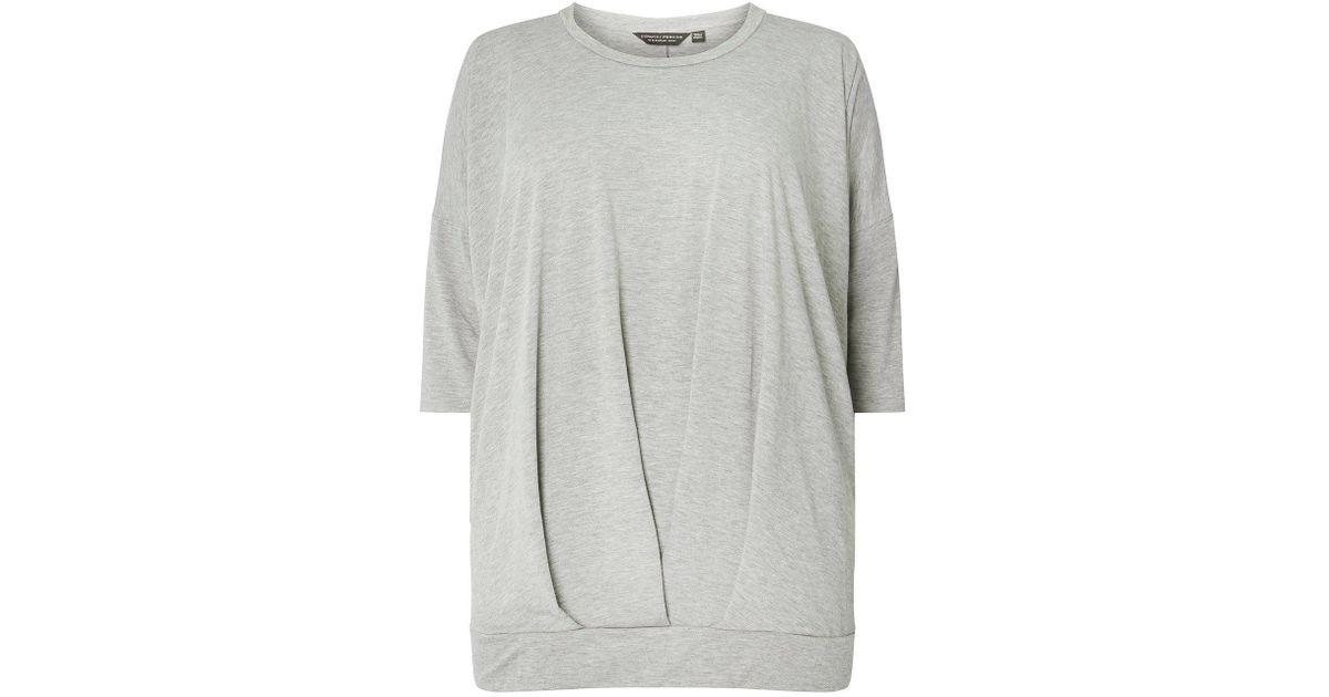 dda1e1ce415c Lyst - Dorothy Perkins Dp Curve Grey Bubble Hem Top in Gray