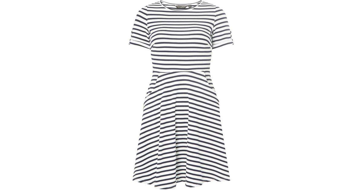 400472fbd0e3 Dorothy Perkins Ivory Striped T-shirt Skater Dress in White - Lyst