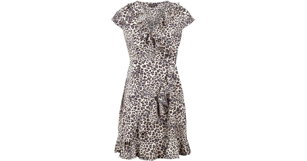174764658ce Dorothy Perkins Izabel London Beige Leopard Print Wrap Dress in White - Lyst