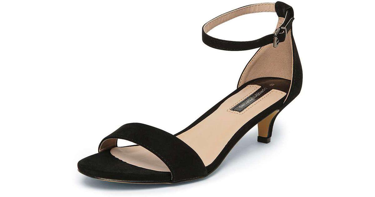 dorothy perkins black sundae low heel sandals in black lyst