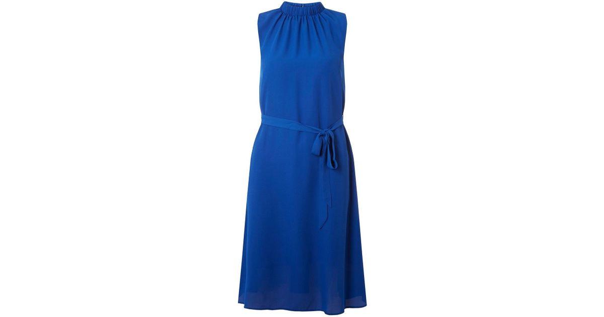 03c66bee1cb Lyst - Dorothy Perkins Cobalt Blue High Neck Chiffon Midi Dress in Blue