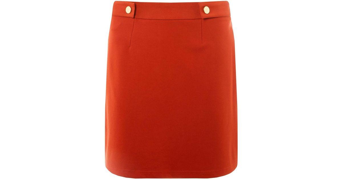 6f20999751e Lyst - Dorothy Perkins Rust Popper Mini Skirt in Red