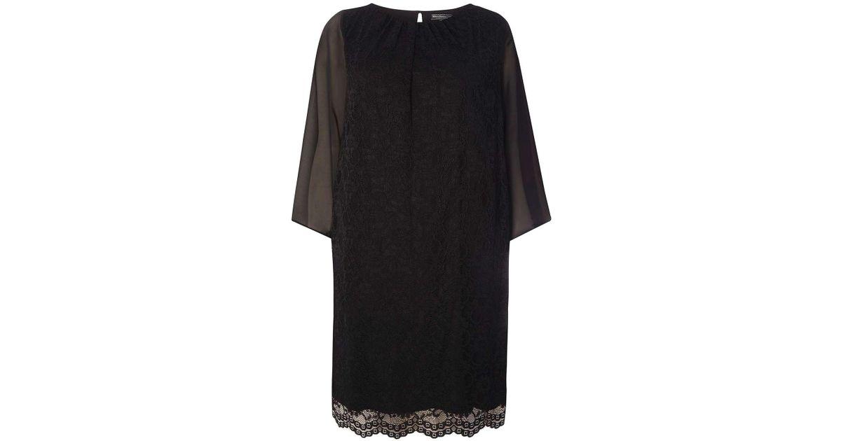6e26ac25c039 Lyst - Dorothy Perkins Billie   Blossom Curve Black Lace Kimono Dress in  Black
