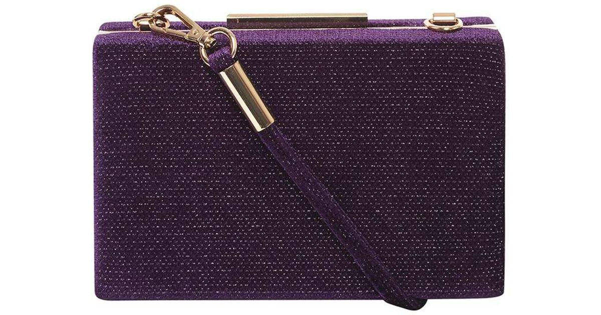 8597540fab Lyst - Dorothy Perkins Purple Velvet Sparkle Clutch Bag in Purple