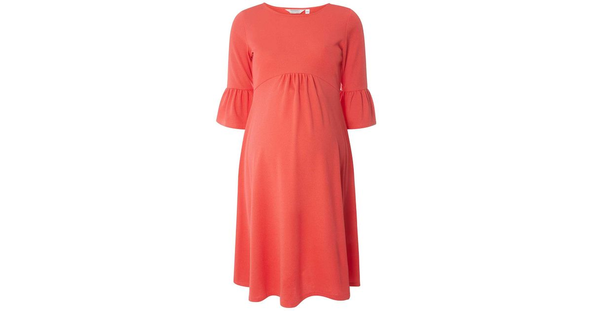 3c36c3c0e156f Dorothy Perkins Maternity Coral 3/4 Flute Sleeve Dress in Pink - Lyst