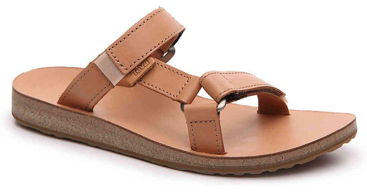 5344d958f Lyst - Teva Universal Slide Leather Flat Sandal in Brown