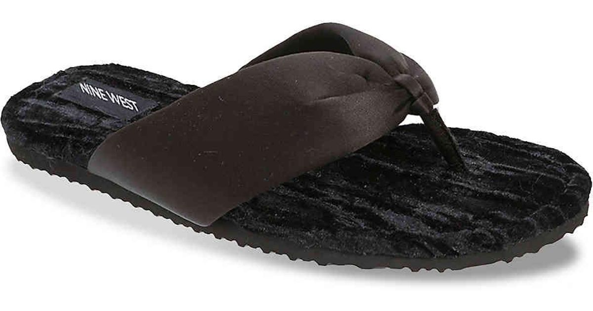 01ae8b3d155 Lyst - Nine West Satin   Velvet Thong Slipper in Black