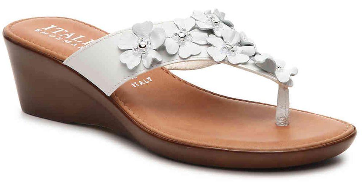 9fd5b702ef8a Lyst - Italian Shoemakers Gisselle Wedge Sandal in White