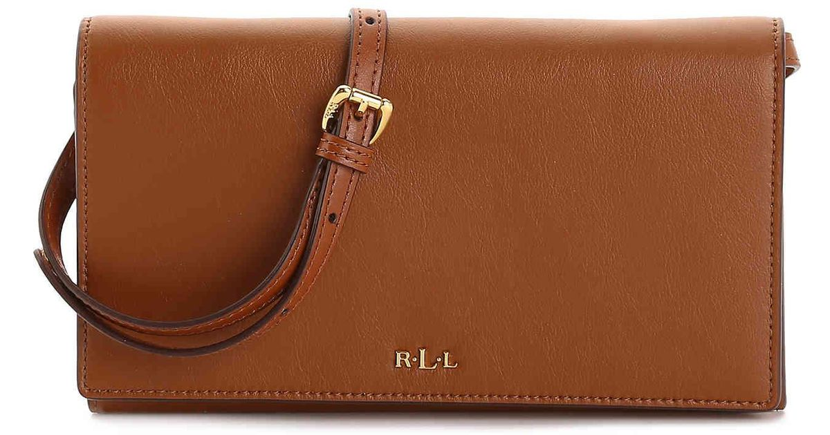 147f39815b ... free shipping lyst lauren by ralph lauren dowell leather crossbody bag  in brown 035f3 c4099