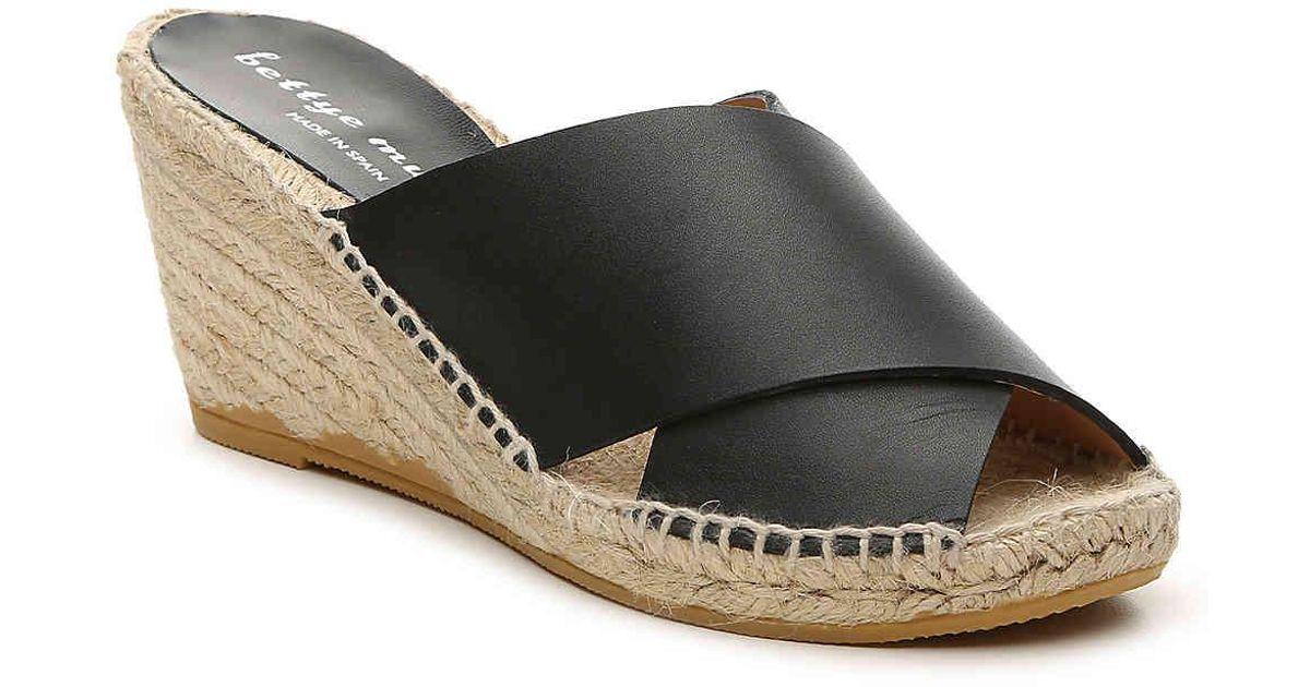 e2c595cd880 Bettye By Bettye Muller - Black Dijon Wedge Sandal - Lyst