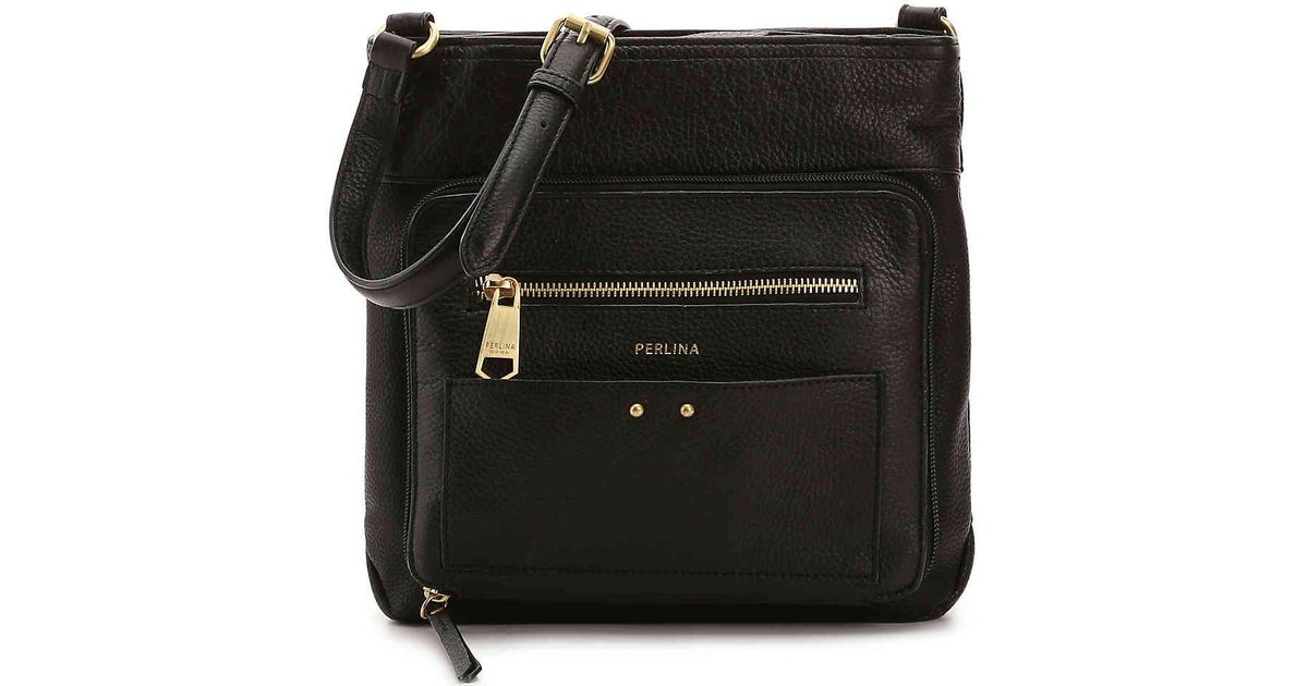 Lyst - Perlina Clare Leather Crossbody Bag in Black 8818eb476bee2