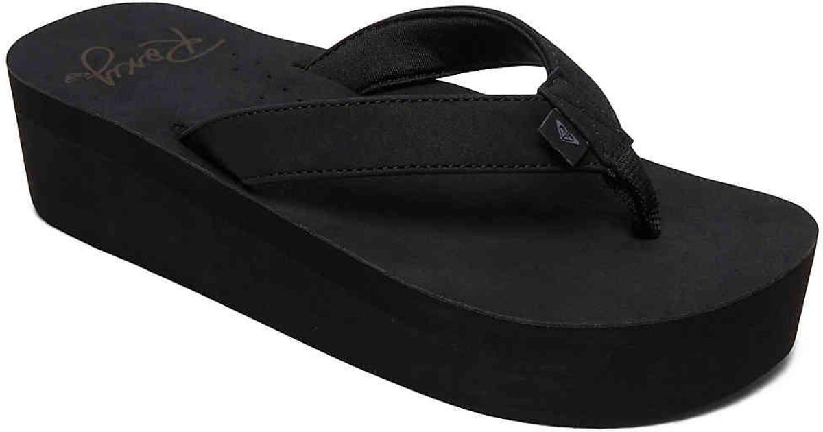 cd79e4367 Lyst - Roxy Melinda Wedge Flip Flop in Black