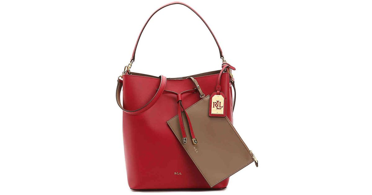 Lyst - Lauren by Ralph Lauren Dryden Debby Leather Shoulder Bag in Red 3beff92d31c10