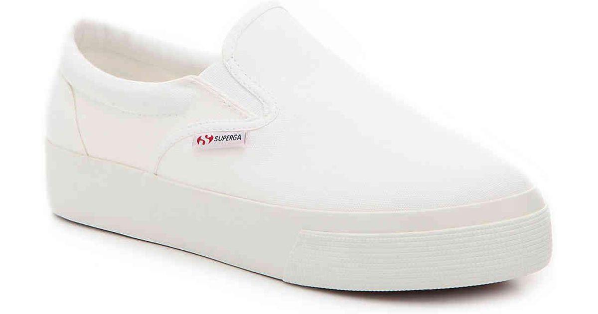 1008d7b9642 Lyst - Superga 2398 Platform Slip-on Sneaker in White