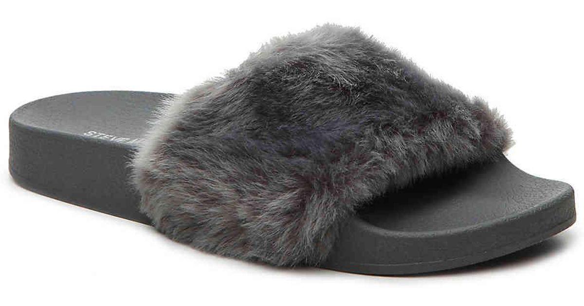 39cdaee1f Steve Madden Softey Slide Sandal in Gray - Lyst
