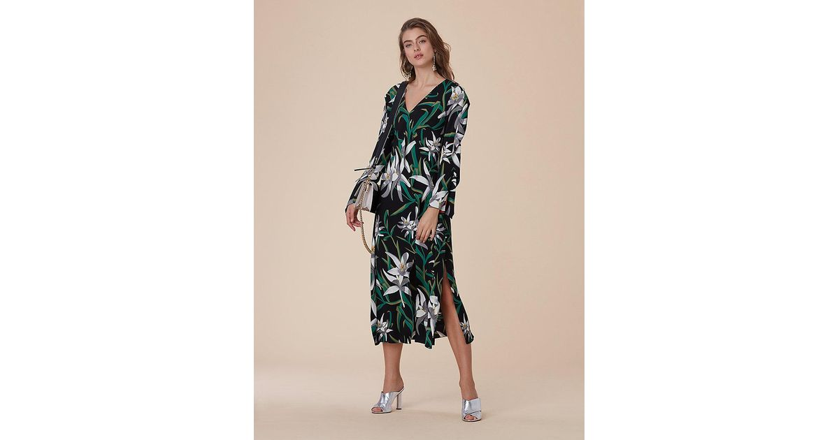 8e46b5f0a9b Diane von Furstenberg Long-sleeve Bias Midi Dress in Black - Lyst