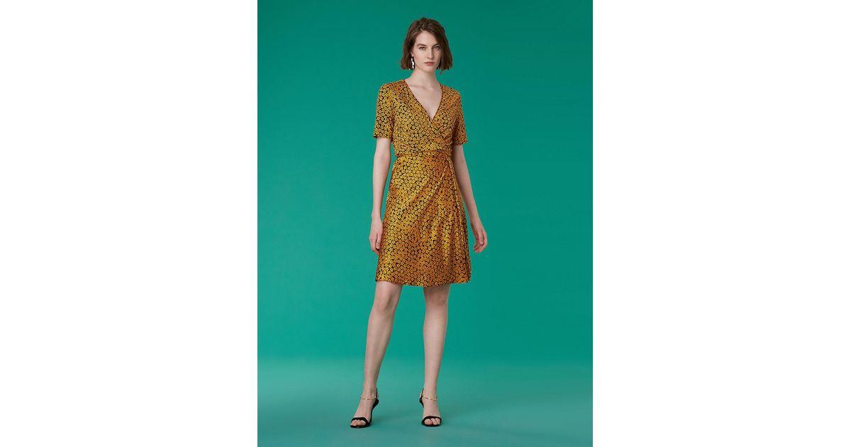 6f68c082ca874 Lyst - Diane von Furstenberg Short-sleeve Satin Flare Wrap Dress