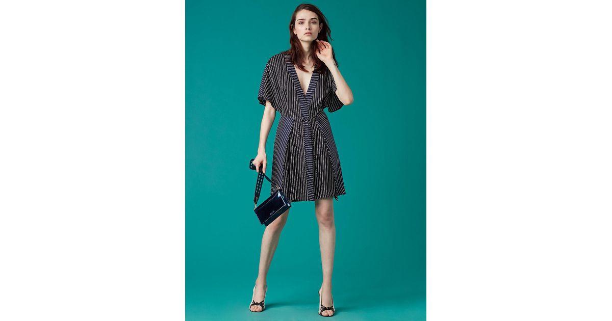97cecb7b09 Diane von Furstenberg Short-sleeve V-neck Tie Front Dress in Blue - Lyst