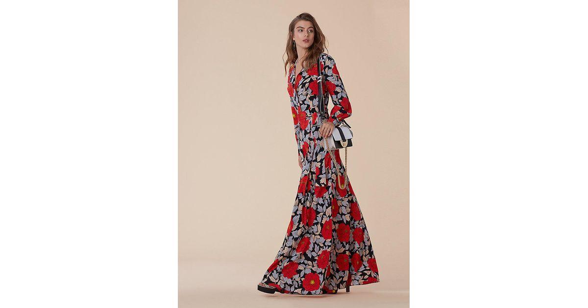 5082fd95f8d Diane von Furstenberg Waist Tie Maxi Dress in Red - Lyst