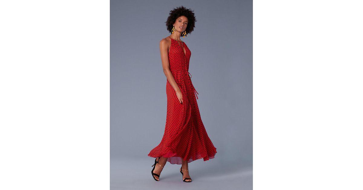 26bf1345a Diane von Furstenberg Keyhole Waist Tie Maxi Dress in Red - Lyst