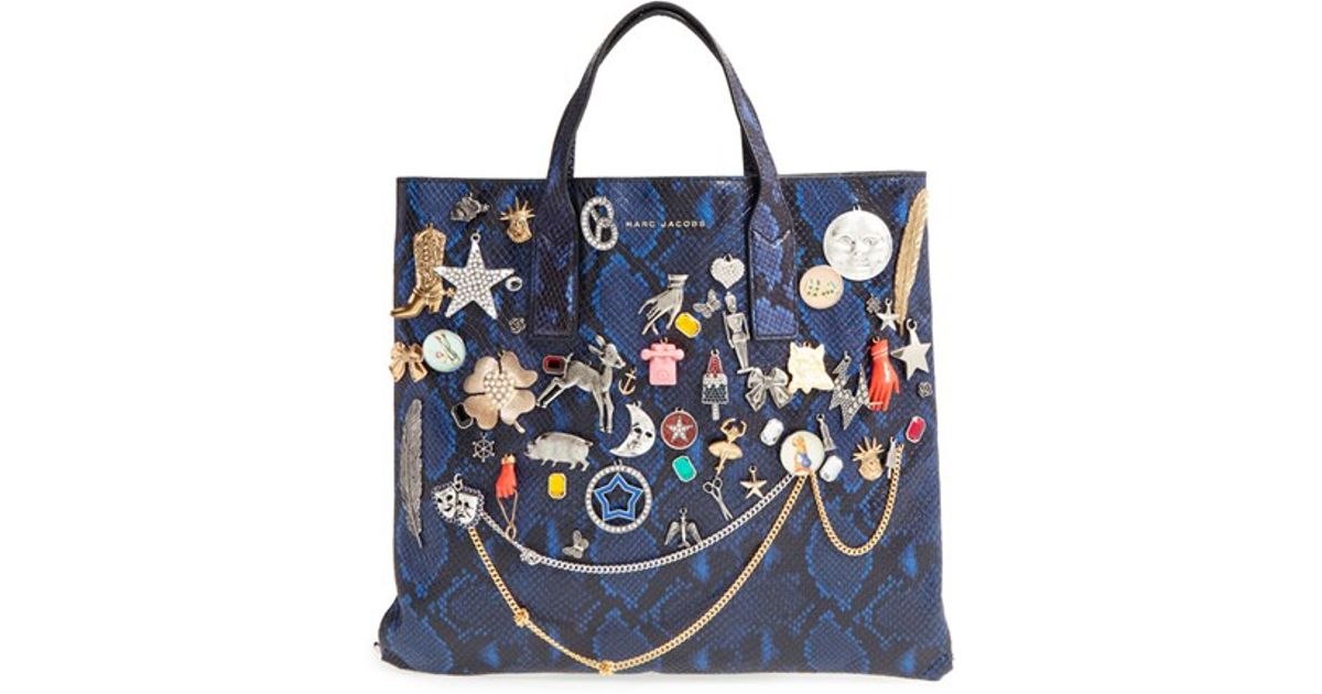 Lyst Marc Jacobs Mini Wingman Embellished Leather Ping Tote In Blue