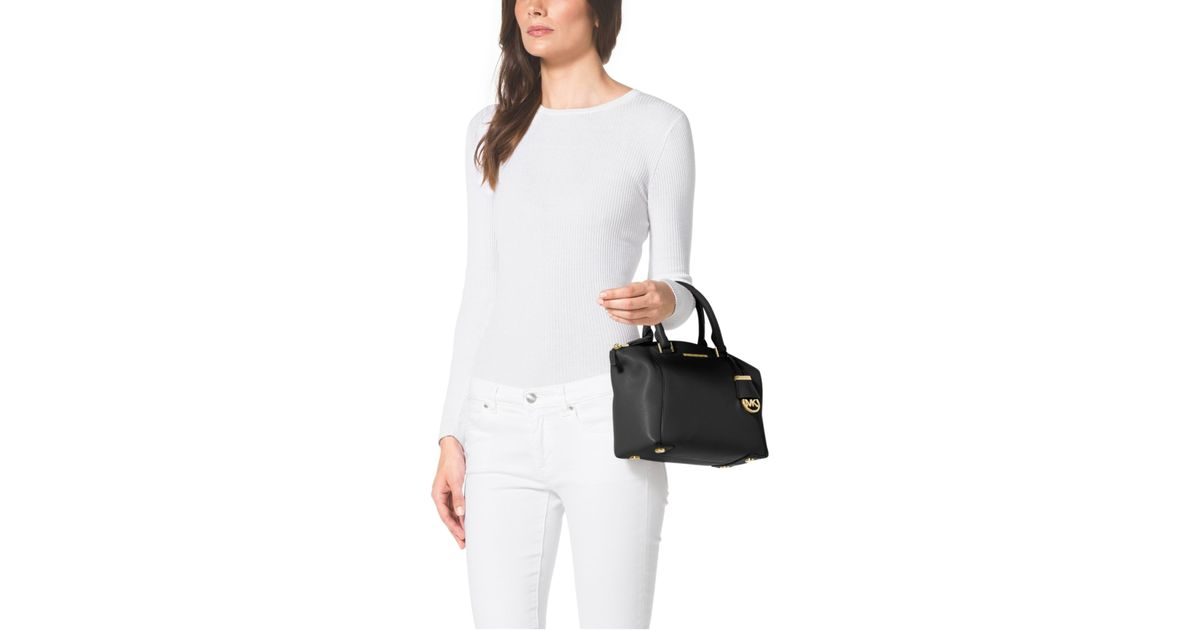 6bb1d820eabd ... where to buy lyst michael kors riley small pebbled leather satchel in  black c7bdb 9c74f