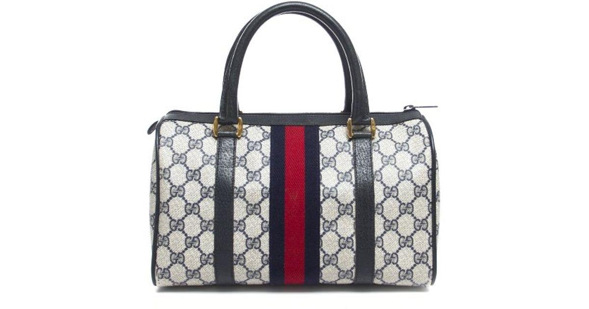 f3b52fd6765a Gucci Pre-owned Monogram Canvas Web Stripe Boston Bag in Black - Lyst