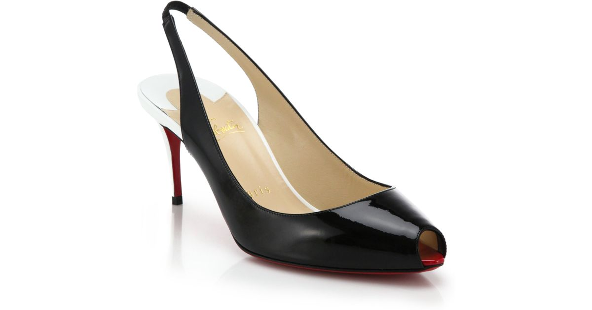 Christian louboutin Two-Tone Patent Leather Peep-Toe Slingback ...