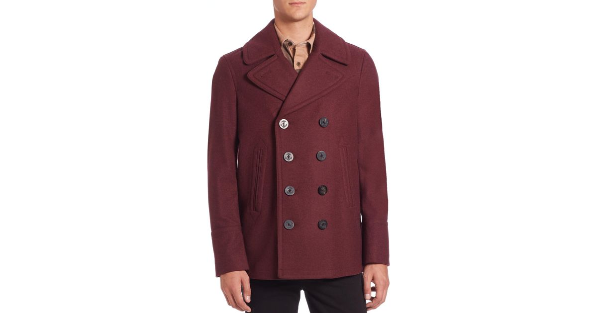 Burberry Eckford Wool & Cashmere Peacoat in Red for Men | Lyst