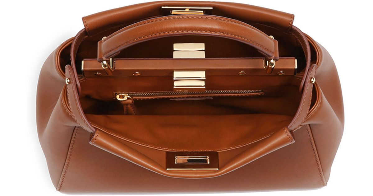 62ad111f5593 ... official store replica fendi bags fendi peekaboo mini leather satchel  bag in brown lyst 20326 4d665