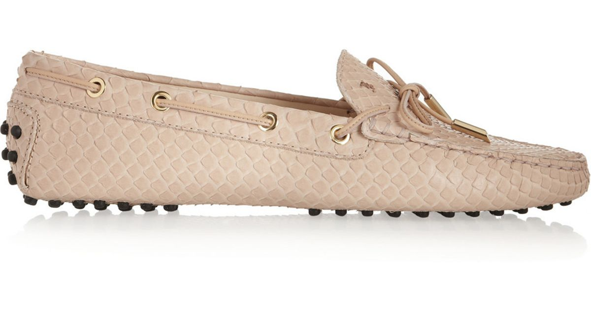 86d1b65ac7c Lyst - Tod s Gommino Python Loafers in Pink