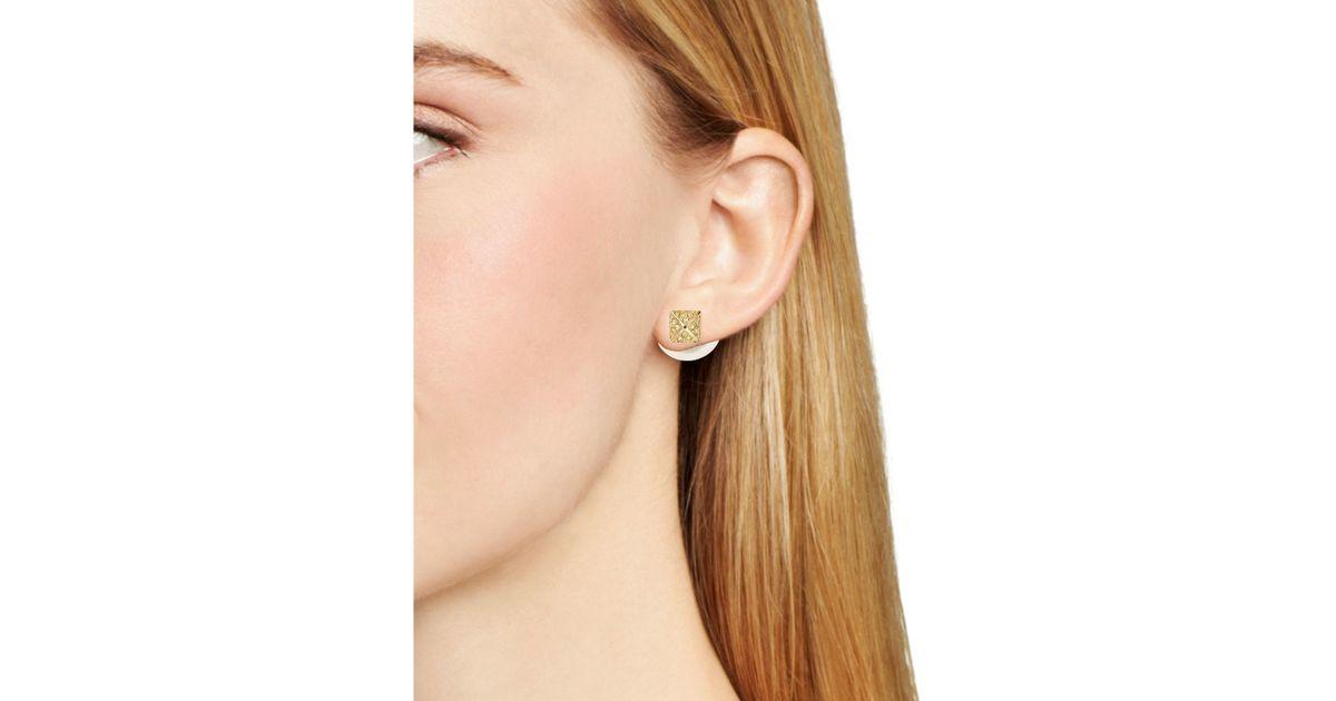 74f479922 Lyst - Rebecca Minkoff Faux Pearl Front-back Earrings in Metallic