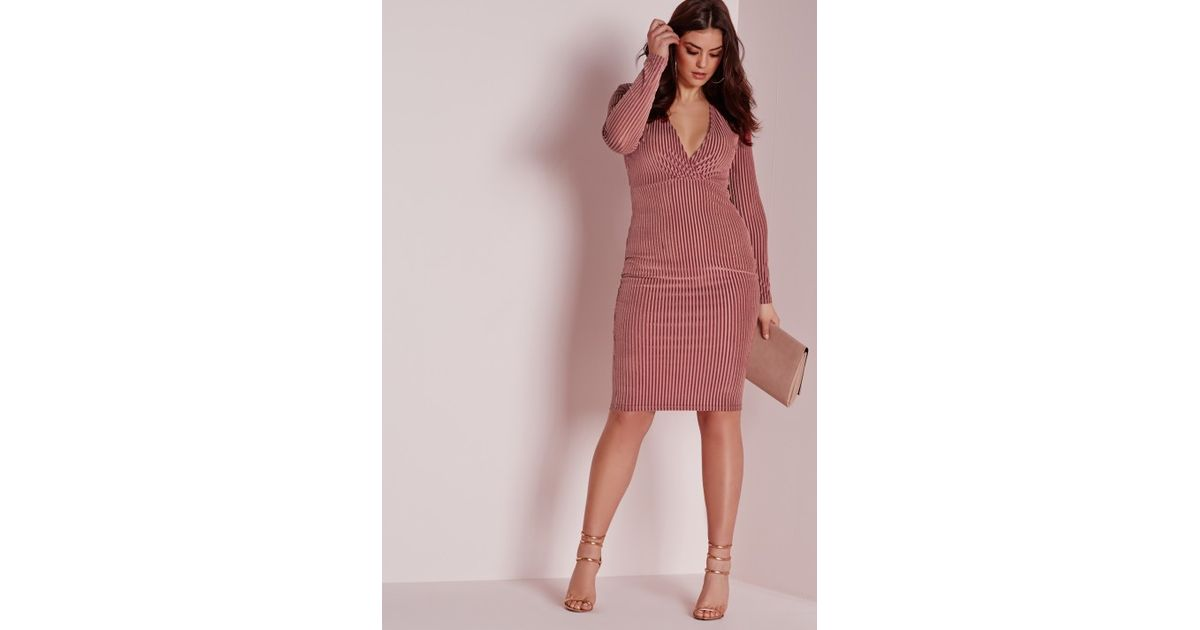 Missguided Rose Velvet Ribbed Midi Dress Limited Edition Cheap Price 3g4MeOnth