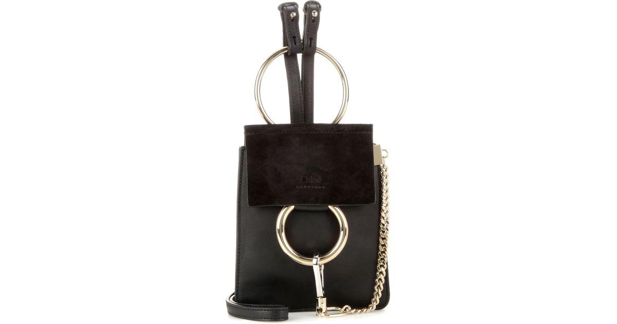chlo faye mini bracelet leather and suede bag in gold black lyst. Black Bedroom Furniture Sets. Home Design Ideas