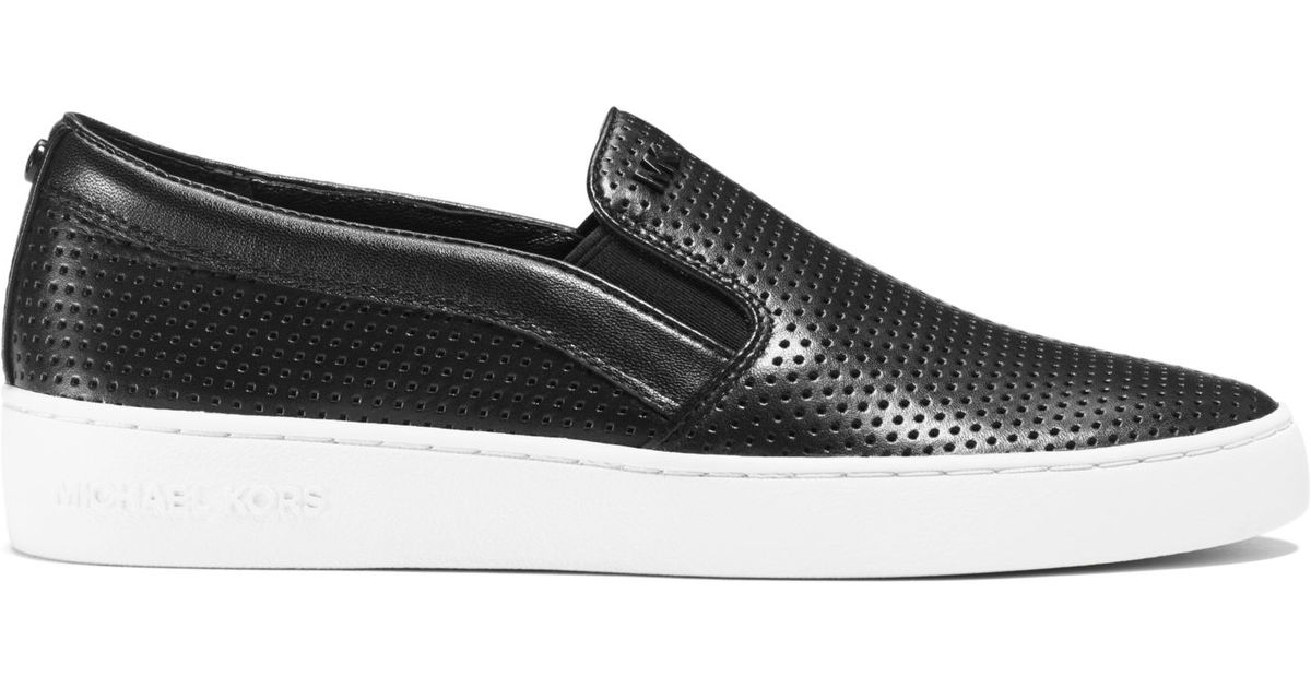 eddcdd494d8c2 Lyst - Michael Kors Keaton Perforated-leather Slip-on Sneaker in Black